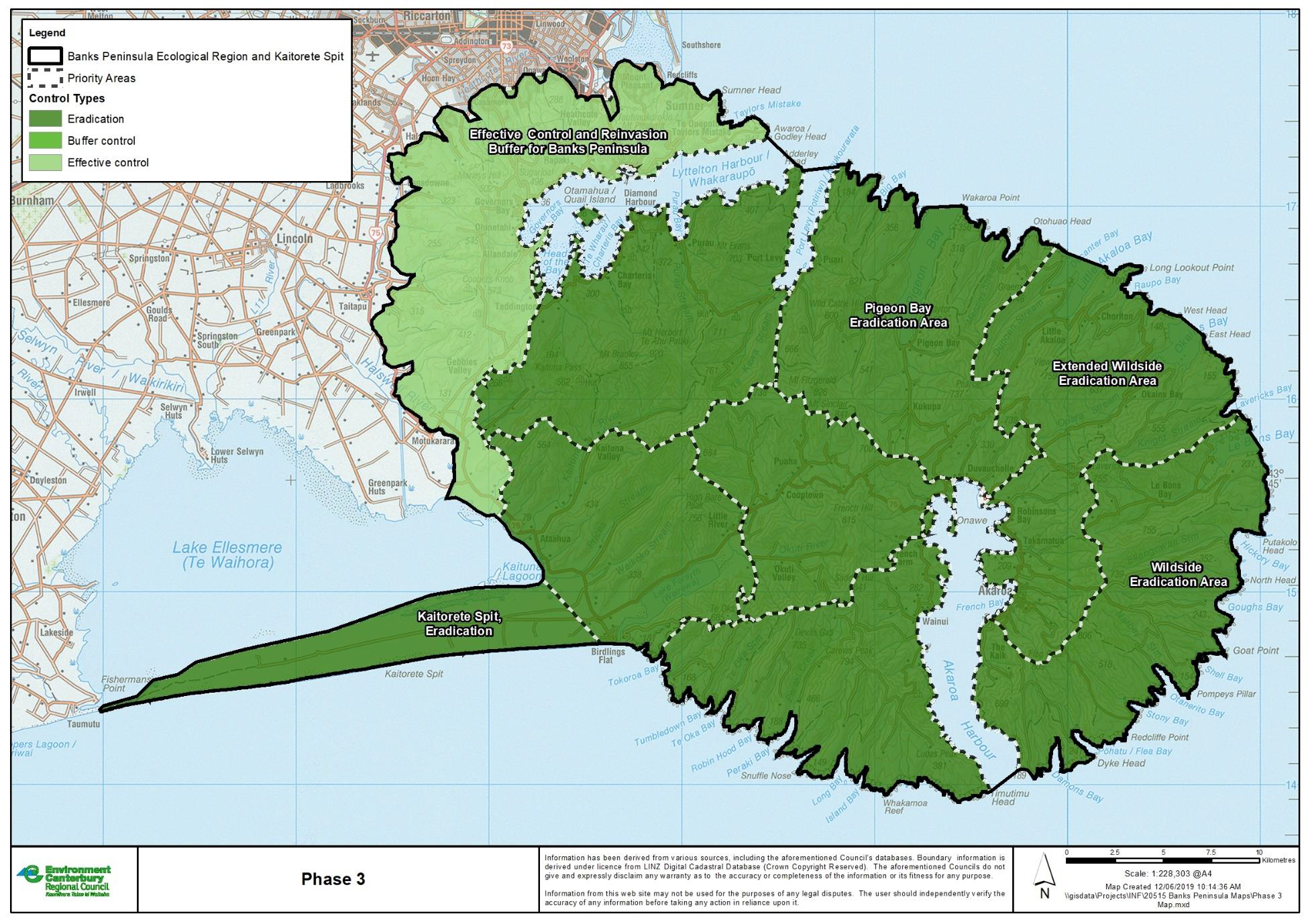 The eradication areas meets the control areas of Port Hills.